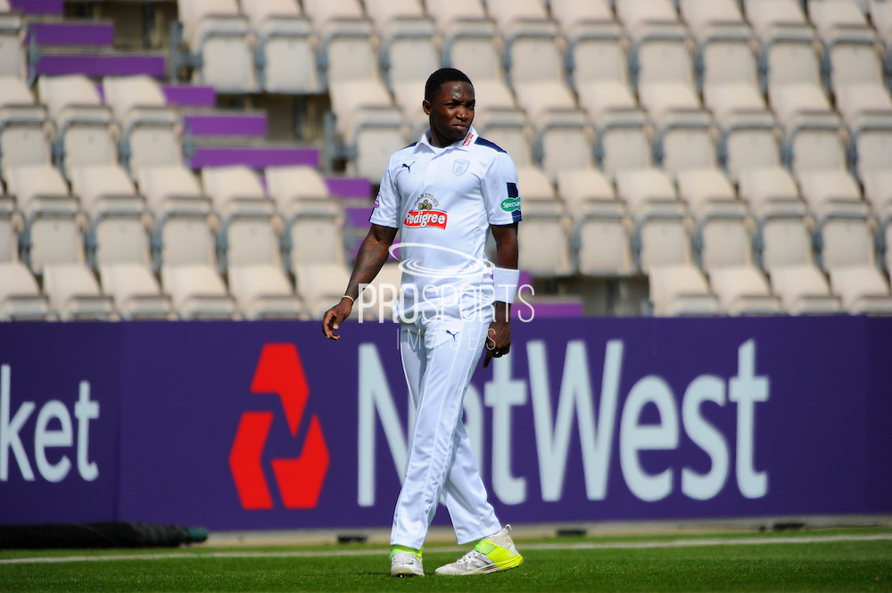 Hampshire's Fidel Edwards during the Specsavers County Champ Div 1 match between Hampshire County Cricket Club and Warwickshire County Cricket Club at the Ageas Bowl, Southampton, United Kingdom on 12 April 2016. Photo by Graham Hunt.