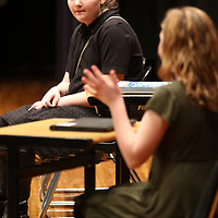 8th Grade Sarah Buzzell, left, and 7th grade Sunni Giecek perform a piece from Tennessee Williams The Glass Menagerie Saturday at the Civic Auditorium for the Mississippi Bicentennial Birthday Bash