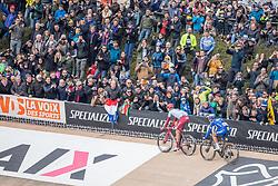 Nils Politt (GER) of Team Katusha - Alpecin (SUI,WT,Canyon) and Philippe Gilbert (BEL) of Deceuninck - Quick Step (BEL,WT,Specialized) during the 2019 Paris-Roubaix (1.UWT) with 257 km racing from Compiègne to Roubaix, France. 14th April 2019. Picture: Thomas van Bracht | Peloton Photos<br /> <br /> All photos usage must carry mandatory copyright credit (Peloton Photos | Thomas van Bracht)