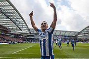 Brighton & Hove Albion winger Anthony Knockaert celebrates at 2-0 during the EFL Sky Bet Championship match between Brighton and Hove Albion and Wigan Athletic at the American Express Community Stadium, Brighton and Hove, England on 17 April 2017. Photo by Bennett Dean.