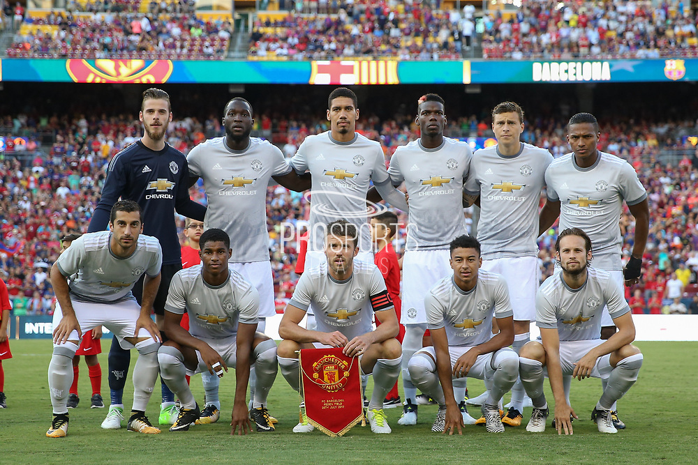 Manchester United line up during the International Champions Cup match between Barcelona and Manchester United at FedEx Field, Landover, United States on 26 July 2017.