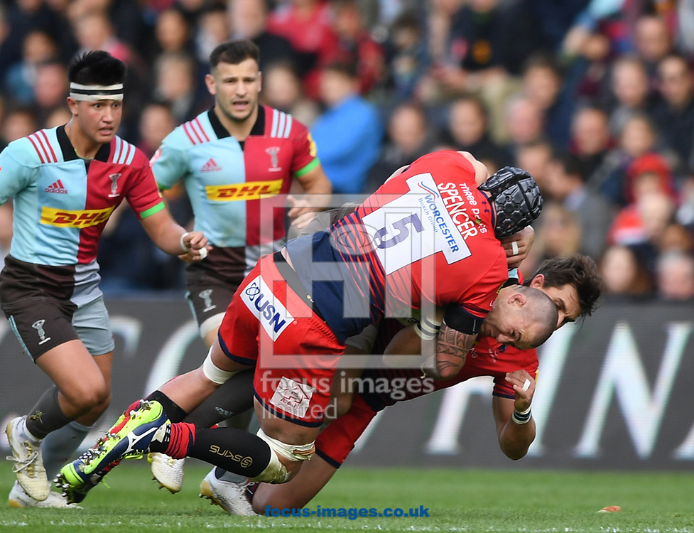 Mike Brown of Harlequins can't find a way through and is tackled be Will Spencer of Worcester Warriors during the Aviva Premiership match at Twickenham Stoop , London<br /> Picture by Simon Dael/Focus Images Ltd 07866 555979<br /> 28/10/2017