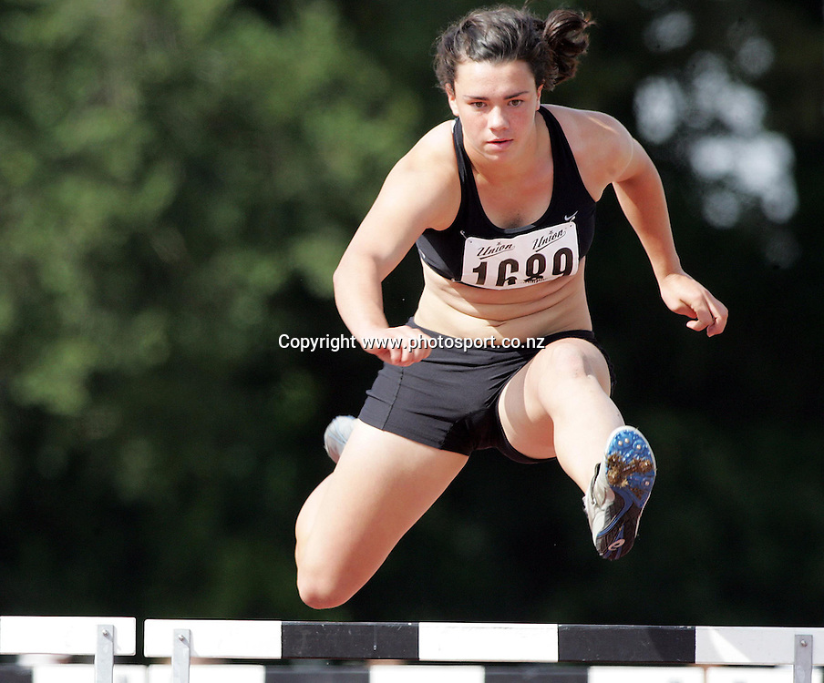 Olivia Blundel (Wellington) competes in the Women's U16's 100m hurdle event at the 2007 Union Athletics New Zealand Track &amp; Field Championships at TET Stadium, Inglewood, New Zealand on Saturday 3 March 2007. Photo: Hannah Johnston/PHOTOSPORT<br /> <br /> <br /> <br /> 030307
