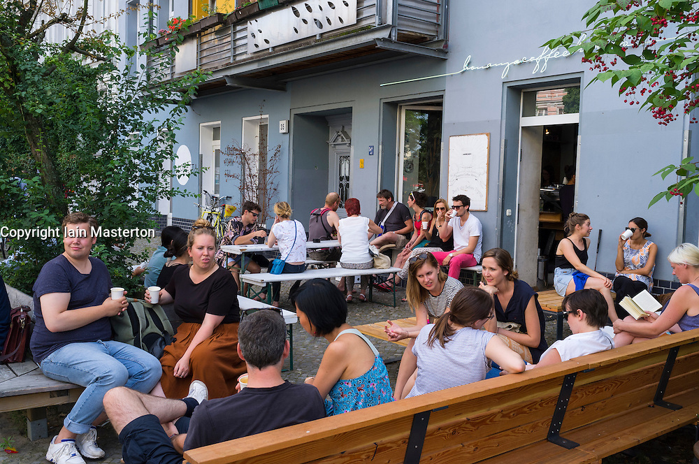 Busy cafe in Prenzlauer Berg in Berlin Germany