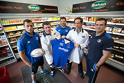 Repro Free: <br /> Bank of Ireland announces details of the 2014 Rugby Sponsor for a Day Competition<br /> <br /> Bank of Ireland is once again opening up its sponsorships of the Munster and Leinster rugby teams to businesses throughout Ireland to compete in its second &lsquo;Sponsor for a Day&rsquo; competition and win the right to have their company logo displayed on the Munster and Leinster players&rsquo; jerseys during a high profile European Rugby Champions Cup match in front of a large live and TV audience.  <br /> <br /> The full prize includes &ndash; the winners company logo on the front of the jerseys; pitch signage; corporate hospitality for ten guests; match programme advert; photographs with the team; promotion for your business from Bank of Ireland and Munster/ Leinster Rugby and Independent News and Media through press and media for all shortlisted companies and winners. The selected games are Leinster vs Castres at the RDS, Dublin on 16 January, 2015 and Munster vs Sale Sharks at Thomond Park, Limerick on 25 January, 2015. Both games will be broadcast live on SKY.<br /> <br /> Companies can enter the competition via www.independent.ie/sponsorforaday from today until the closing date of 10 November, 2014<br /> <br /> Pictured at the launch of the Bank of Ireland &lsquo;Sponsor for a Day&rsquo; competition are last year&rsquo;s Leinster winners, James Gahan, production manager, and Nigel Gahan, sales manager at Gahan Meats with Leinster players Zane Kirchner, Mike Ross and Shane Jennings. Picture Andres Poveda