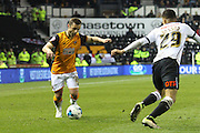 Hull midfielder Shaun Maloney attacks the Derby end during the Sky Bet Championship match between Derby County and Hull City at the iPro Stadium, Derby, England on 5 April 2016. Photo by Aaron  Lupton.