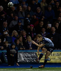 Cardiff Blues' Jarrod Evans misses the conversion<br /> <br /> Photographer Simon King/Replay Images<br /> <br /> Guinness PRO14 Round 15 - Cardiff Blues v Munster - Saturday 17th February 2018 - Cardiff Arms Park - Cardiff<br /> <br /> World Copyright © Replay Images . All rights reserved. info@replayimages.co.uk - http://replayimages.co.uk