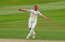 Nottinghamshire's Luke Wood unsuccessfully appeals for the LBW of Somerset's Peter Trego. - Photo mandatory by-line: Harry Trump/JMP - Mobile: 07966 386802 - 17/06/15 - SPORT - CRICKET - LVCC County Championship - Division One - Day Four - Somerset v Nottinghamshire - The County Ground, Taunton, England.