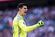 Chelsea goalkeeper Thibaut Courtois (13)  celebrate opening goal score by Willian (22) during the The FA Cup semi final match between Chelsea and Tottenham Hotspur at Stamford Bridge, London, England on 22 April 2017. Photo by Sebastian Frej.