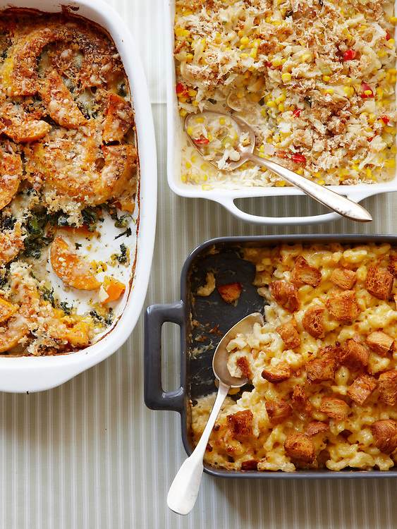 Virginia Willis' Winter Green and Butternut Squash Gratin, Creamy Crab Casserole, Macaroni with Five Cheeses, Around the Southern Table Cookbook by Rebecca