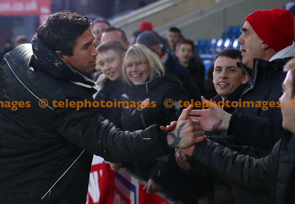 Crawley Town's head coach Harry Kewell is congratulated by the fans after  the Sky Bet League 2 match between Chesterfield and Crawley Town at the Proact Stadium in Chesterfield. 03 Feb 2018