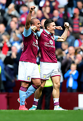 Gabriel Agbonlahor of Aston Villa celebrates  on the final whistle with Jack Grealish of Aston Villa  - Mandatory by-line: Joe Meredith/JMP - 23/04/2017 - FOOTBALL - Villa Park - Birmingham, England - Aston Villa v Birmingham City - Sky Bet Championship