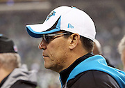 Carolina Panthers head coach Ron Rivera looks on from the sideline during the NFL week 19 NFC Divisional Playoff football game against the Seattle Seahawks on Saturday, Jan. 10, 2015 in Seattle. The Seahawks won the game 31-17. ©Paul Anthony Spinelli