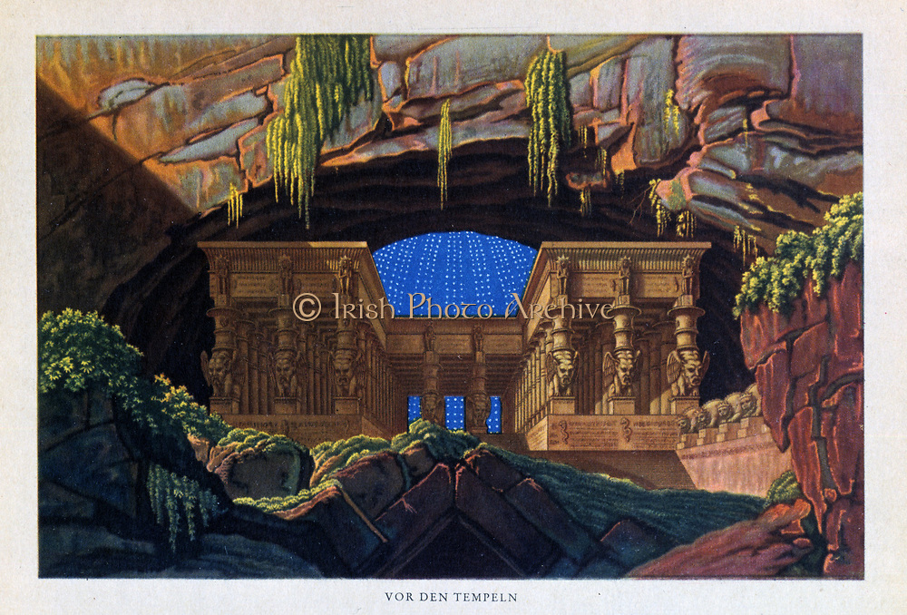 Mozart (Die Zauberflote - The Magic Flute) Temple of Isis and Osiris where Sarastro High Priest. Décor by Karl Friedrich Schinkel 1816. Plot has overtones of Freemasonry. Some say Queen of the Night is Empress Maria Theresa. Biblioteque de l'Opera, Paris