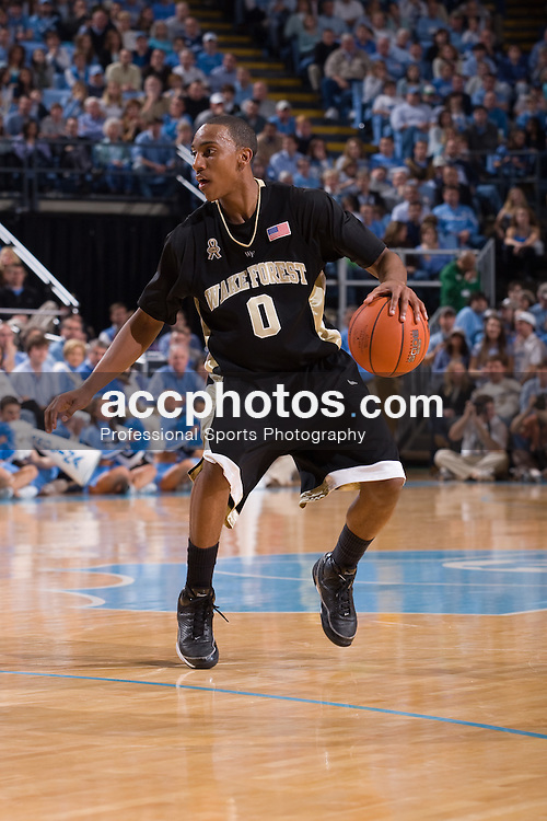 24 February 2008: Wake Forest guard Jeff Teague (0) during a North Carolina Tar Heels 89-73 win over the Wake Forest Demon Deacons at the Dean Smith Center in Chapel Hill, NC.