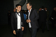 Hedi Slimane and Mario Testino, EXHIBITION OF WORK BY THOMAS DEMAND ( SUPPORTED BY WALLPAPER) AT THE SERPENTINE GALLERY AND AFTERWARDS AT THE Rochelle Canteen, Rochelle School<br />Arnold Circus. London E2. 5 JUNE 2006. ONE TIME USE ONLY - DO NOT ARCHIVE  © Copyright Photograph by Dafydd Jones 66 Stockwell Park Rd. London SW9 0DA Tel 020 7733 0108 www.dafjones.com