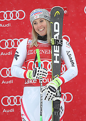 01.12.2017, Lake Louise, CAN, FIS Weltcup Ski Alpin, Lake Louise, Abfahrt, Damen, Siegerehrung, im Bild Siegerin Cornelia Huetter (AUT) // Winner Cornelia Huetter of Austria during the winner Ceremony for the ladie's downhill of FIS Ski Alpine World Cup in Lake Louise, Canada on 2017/12/01. EXPA Pictures © 2017, PhotoCredit: EXPA/ SM<br /> <br /> *****ATTENTION - OUT of GER*****