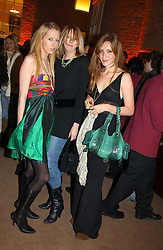 Left to right,  the HON.SOPHIA HESKETH, her sister the HON.FLORA HESKETH and KATE GOLDSMITH at a party to celebrate the 2nd anniversary of Quintessentially magazine held at Asprey, Bond Street, London on 24th February 2005.<br />