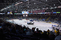 KELOWNA, CANADA - DECEMBER 5: Dodge trucks drive on the ice gathering the annual teddy bear toss on December 5, 2015 at Prospera Place in Kelowna, British Columbia, Canada.  (Photo by Marissa Baecker/Shoot the Breeze)  *** Local Caption ***