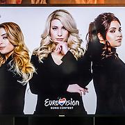 NLD/Amsterdam//20170303 - Bekendmaking Songfestival lied Ogene, Poster van het Euro Vision songfestival