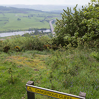 Warning signs on top of Kinnoull Hill, Perth...27.05.14 which was the location of two un-related deaths on Monday 26th May.<br /> Picture by Graeme Hart.<br /> Copyright Perthshire Picture Agency<br /> Tel: 01738 623350  Mobile: 07990 594431