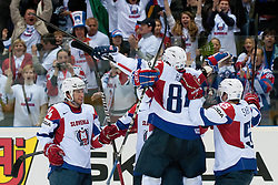 Team Slovenia celebrate first goal during ice-hockey match between Russia and Slovenia of Group A of IIHF 2011 World Championship Slovakia, on May 1, 2011 in Orange Arena, Bratislava, Slovakia. (Photo by Matic Klansek Velej / Sportida)