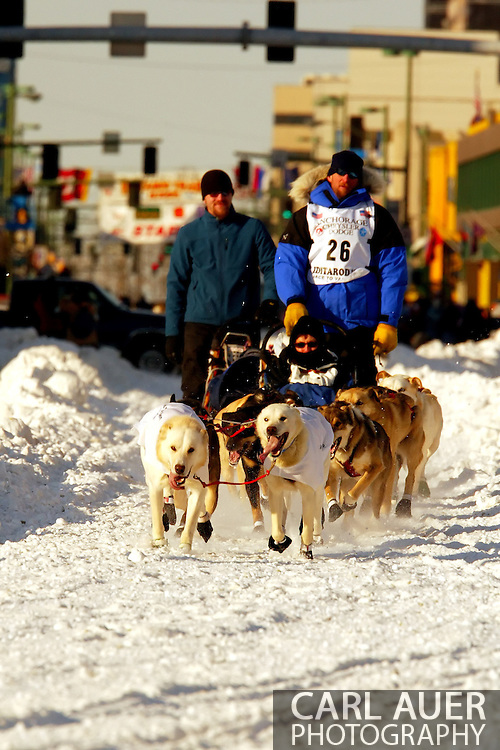 3/3/2007:  Anchorage Alaska -  Veteran Scott Smith of Willow, AK during the Ceremonial Start of the 35th Iditarod Sled Dog Race