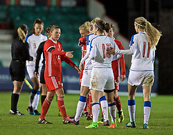 NEWPORT, WALES - Thursday, April 4, 2019: Wales' captain Loren Dykes shakes hands with Czech Republic players after an International Friendly match between Wales and Czech Republic at Rodney Parade. The game ended in a 0-0 draw. (Pic by David Rawcliffe/Propaganda)