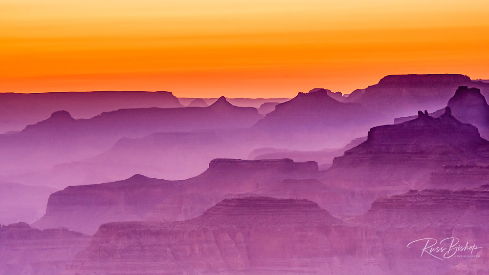 Evening light over the Grand Canyon, Grand Canyon National Park, Arizona USA