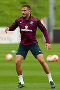 England defender Kyle Walker stretches and warms up during the England Training Session at St George's Park National Football Centre, Burton-Upon-Trent, United Kingdom on 7 October 2015. Photo by Aaron Lupton.