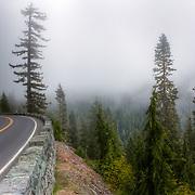 Cliffside road through Mt. Rainier National Park, WA