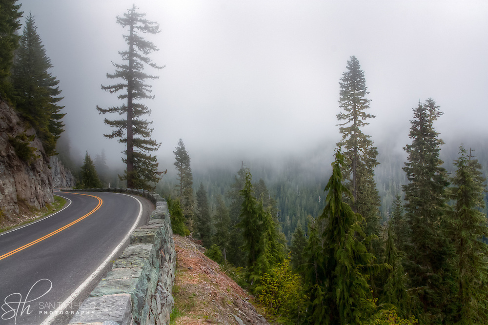 Cliffside road through Mt. Rainier National Park, WA