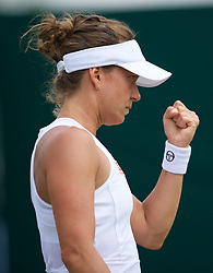 LONDON, ENGLAND - Monday, July 8, 2019: Barbora Strycova (CZE) during the Ladies' Singles fourth round match on Day Seven of The Championships Wimbledon 2019 at the All England Lawn Tennis and Croquet Club. Strycova won 4-6, 7-5, 6-2. (Pic by Kirsten Holst/Propaganda)
