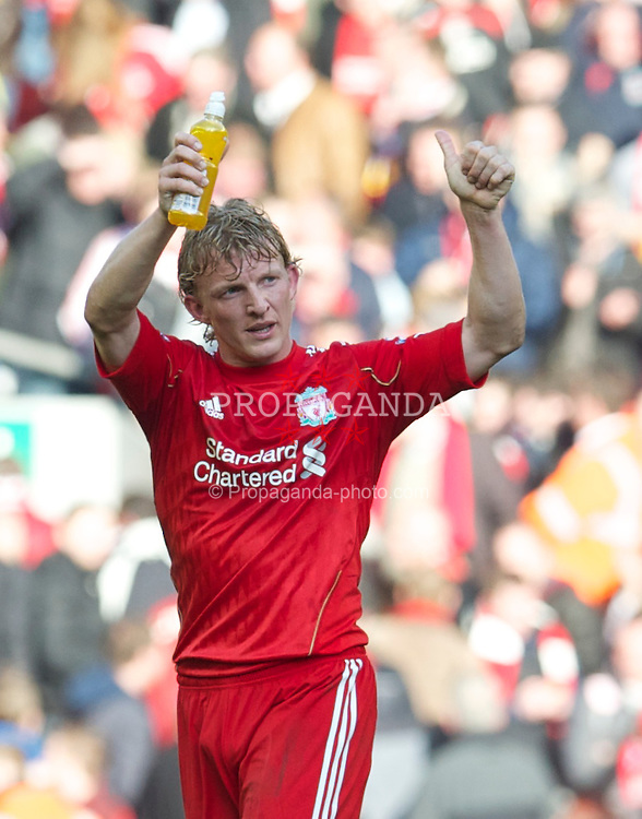 LIVERPOOL, ENGLAND - Sunday, March 6, 2011: Liverpool's hat-trick hero Dirk Kuyt celebrates his side's emphatic 3-1 victory over Manchester United during the Premiership match at Anfield. (Photo by David Rawcliffe/Propaganda)
