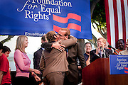 Kristin Perry, one of the plaintiffs against Prop. 8, embraces Chad Griffin of American Foundation for Equal Rights at rally after Prop. 8 was overturned.