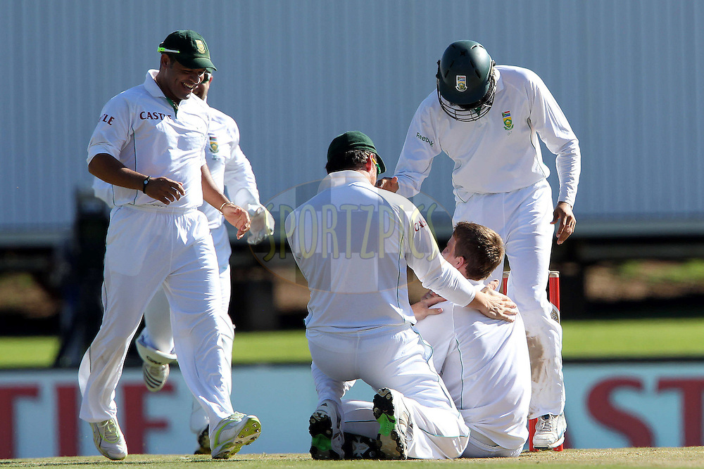 Morne Morkel of South Africa celebrates the wicket of Rahual Dravid of India.  Morkel's 100th test wicket during day 1 of the first ( 1st ) Test Match between South Africa and India held at Supersport Park in Centurion, Gauteng, South Africa on the 16th December 2010..Photo by Ron Gaunt/BCCI/SPORTZPICS