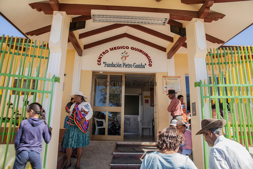 The entrance of Pietro Gamba's hospital in Anzaldo, near Cochabamba, in the Bolivian Andes