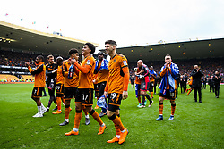 Free to use courtesy of SkyBet. Ruben Vinagre and other Wolverhampton Wanderers players celebrate at the end of the game after securing automatic promotion from the Sky Bet Championship to the Premier League - Rogan/JMP - 15/04/2018 - Molineux - Wolverhampton, England - Wolverhampton Wanderers v Birmingham City - Sky Bet Championship.
