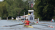 Henley on Thames, England, United Kingdom, Friday, 05.07.19, S. Lu & Y. Wang China, CHN, approaching the Barrier, in their Heat, of the Stonor Challenge Trophy, Henley Royal Regatta,  Henley Reach, [©Karon PHILLIPS/Intersport Images]<br /> <br /> 10:21:54 1919 - 2019, Royal Henley Peace Regatta Centenary,