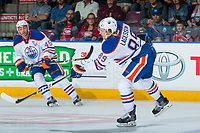 PENTICTON, CANADA - SEPTEMBER 9: William Lagesson #89 of Edmonton Oilers takes a shot against the Winnipeg Jets on September 9, 2017 at the South Okanagan Event Centre in Penticton, British Columbia, Canada.  (Photo by Marissa Baecker/Shoot the Breeze)  *** Local Caption ***