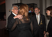 SIR DAVID TANG; THE DUCHESS OF YORK;CHRISTOPHER LE BRUN PRESIDENT R.A.;  PRINCESS EUGENIE OF YORK, Dinner and a performance and film screening from Carnet de and Mike Figgis (who has created a film especially for the event)  to celebrate David Tang and to mark the start of construction of the RA's £50 million redevelopment project.  Royal Academy. Piccadilly. London. 26 October 2015.