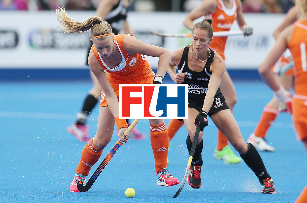 LONDON, ENGLAND - JUNE 18: Caia van Maasakker of Netherlands and Petrea Webster of New Zealand during the FIH Women's Hockey Champions Trophy match between Netherlands and New Zealand at Queen Elizabeth Olympic Park on June 18, 2016 in London, England.  (Photo by Alex Morton/Getty Images)