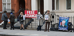 Knightsbridge, London, January 18th 2017. Supporters of Wikileaks Editor in Chief gather outside the embassy of Ecuador in London's Knightsbridge following news that Chelsea Manning, the transgender whistleblower, currently serving a prison term in the US has had his sentence commuted by outgoing President Barak Obama.