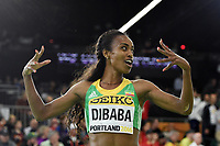 Genzebe Dibaba from Ethiopia reacts after her victory in the 3000m women during the IAAF World Indoor Championships at Oregon Convention Center, in Portland, USA, on March 20, 2016 - Photo Philippe Millereau / KMSP / DPPI