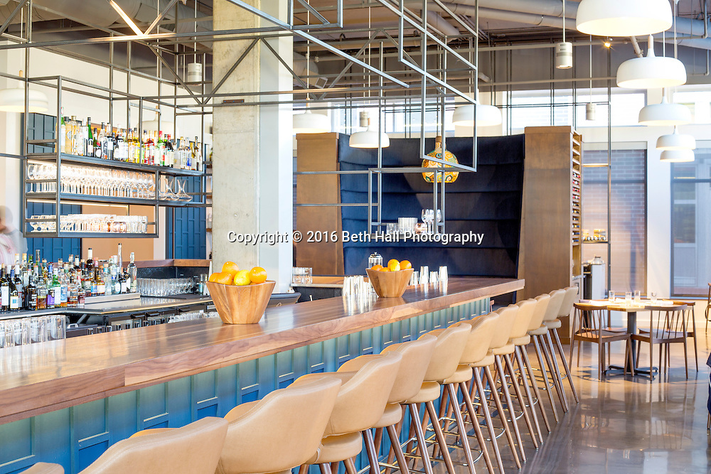 Interior photography of the bar and restaurant at Press Room Cafe in Bentonville, Arkansas. Photo by Beth Hall