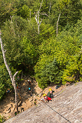 Writer Brad Tuttle with his son Nate starting the climb up Square Ledge in New Hampshire's White Mountains.