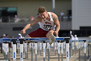 May 24, 2019; Sacramento, CA, USA; Nick Johnson of Washington State runs a wind-aided 13.83 in a 110m hurdles heat during the NCAA West Preliminary at Hornet Stadium.