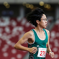 Chai Jiacheng (#276) of Raffles Institution in action during the B Division boys' 1500m final. (Photo © Lim Yong Teck/Red Sports)