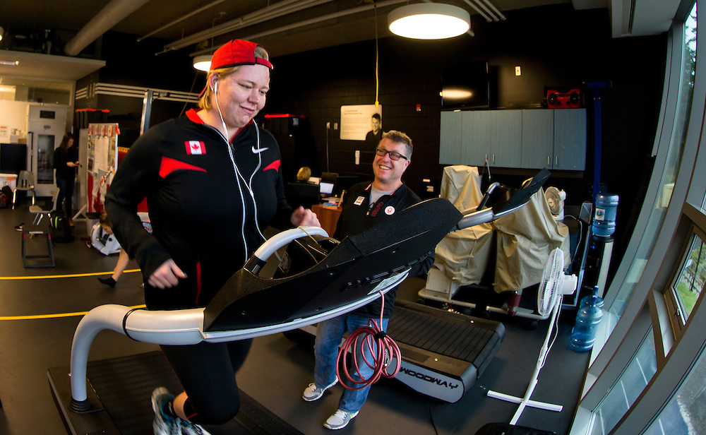 Brittany Crew trains and goes through biomechanical and performance analytics at the PISE Pacific Institute for Sport Excellence in Victoria, British Columbia Canada.