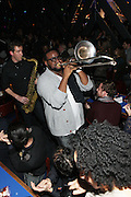 """New York, NY- December 5:  ?uestlove & Brass Heaven performs at """" ?uestlove  eats…in Concert: A Night of Food and Music """" produced by Jill Newman Productions held at the Blue Note on December 5, 2011 in New York City. Photo Credit: Terrence Jennings"""